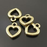 100X Vintage Style Antiqued Bronze Tone Heart Pandent Charms 10*8*2mm