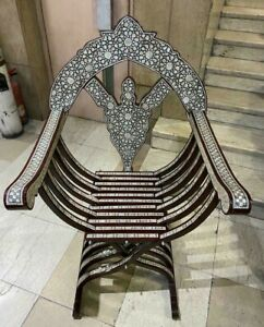 Antique Wood Chair Curving Wood Inlaid Mother of Pearl