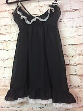 FLORA NIKROOZ Womens Babydoll Lingerie Negligee French Maid Black White Small
