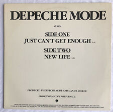 "DEPECHE MODE -Just Can't Get Enough/New Life- Rare USA Promo 12"" (Vinyl Record)"