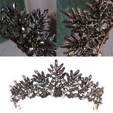 Baroque Crown Wedding Prom Tiara Jewelry Headdress Rhinestone Accessories Black