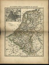 Holland Netherlands w/ Amsterdam city plan inset c.1865 Petri rare antique map