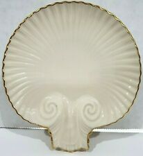 New Lenox Aegean Cream Shell Dish 24K Gold Trim Discontinued Nuts Candy Spoon