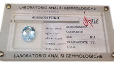 ACQUAMARINA BERILLO BLISTER CERTIFICATO 3.35 KT AUTENTICA AQUAMARINE CERTIFIED