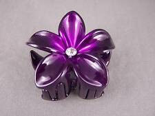 "Purple ombre plumeria hawaiian flower barrette hair clip claw clamp 2.75"" wide"