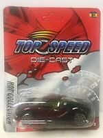 BAD CARD 1/64 Scale Top Speed Diecast Bugatti Veyron Black Red