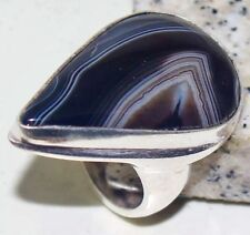 Beautiful Botswana Agate Handmade  Ring Size-10