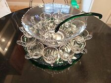 Uber Rare Antique 12 Cup Punch Bowl with Forest Green Platter & Ladle