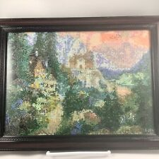 Professionally Framed Cross Stitched Embroidered Pastoral Mountain Scene