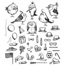 Tim Holtz Cling Rubber STAMPS 2016 Mini Bird Crazy and Things Cms250