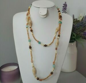 Retro Statement Brown Multi Coloured Plastic Miss Match Beaded Long Necklace