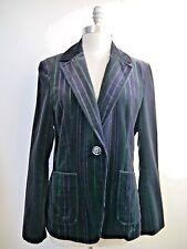 ETRO black purple green striped velvet jacket blazer women's Italian size 44