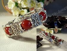 Hot! Handmade Tibet Tibetan silver ladies Red agate beads bracelet bangle AAA272