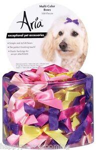 "LOT 100 pc BOW Small DOG Grooming SATIN RIBBON HAIR BOWS 3/8x1 1/2""w/Rubber band"