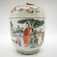 """6.7"""" Collect Old Chinese Famille-rose Porcelain Ancient Figure Pot Tea Canister"""