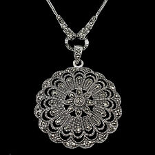 VINTAGE STYLE NATURAL ROUND CUT MARCASITE STERLING 925 SILVER FLOWER NECKLACE 24
