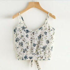 Women's Sexy V Neck Floral Short Crop Tops Cami Vest Camisole Blouse Shirt CA
