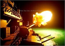Photo: USS Missouri Iowa Class Battleship Fires 16in Guns, On Board Night View