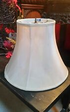 One Vintage Cream Off White Fabric Bell Table Lamp Shade Hand Sewn Custom