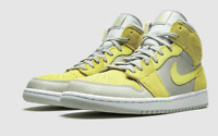 Nike Air Jordan 1 Mid Shoes Gray Fog Lemon Wash DA4666-001 Men's NEW