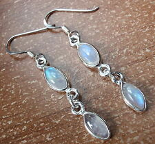 Double Gem Dangle Rainbow Moonstone Marquise Earrings 925 Sterling Silver