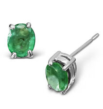 White Gold Emerald Earrings Oval Solitaire Studs Natural Stones
