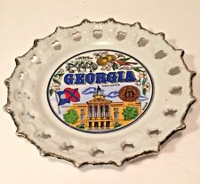Souvenir Porcelain Georgia State Scalloped Collectors Plate Full Color Gold Trim