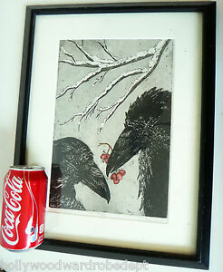 CROW blackbird magpie ARTWORK original signed raven snow winter gothic wicca mod