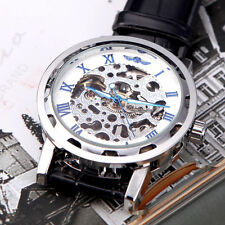 Luxury Mens Skeleton Mechanical Army Wrist Watch Steampunk Black Leather Band