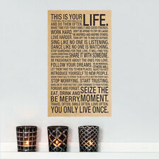 This Is Your Life Motivational Quote Poster Print, 18x29 inch