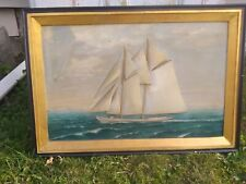 Antique American Nautical Maritime Relief Carved Wooden Racing Boat Diorama