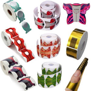 100/500X Roll Acrylic Nail Art Form Sticker adhesive Extension Guide UV Gel  A