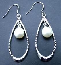 50*17mm Drop Dangle Earring for Women & 9-10mm Natural White Pearl Earring Hook