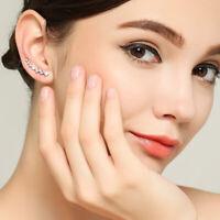 925 Sterling Silver Ear Crawler Cuff Climber Earrings Crystal CZ Charm Women