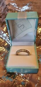 Diamonique Style Ring Silver Stainless Steel size S