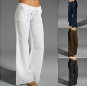 Womens Cotton Linen Wide Leg Pants Solid Casual Elastic Waist Long Trousers New