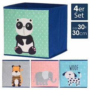 4er Set Aufbewahrungsbox 30x30 cm Aufbewahrungs Regal Kinder Korb Stoff Faltbox