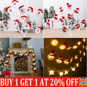 LED Snowman Santa Claus Fairy String Lights In/Outdoor Party Xmas Tree Decor L8