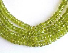 """15"""" STRAND PERIDOT BEADS FACETED RONDELLE 4 - 6 MM NATURAL GEMSTONE  #3467"""