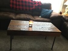 Reclaimed Red Oak Barn Board Coffee Table - Handmade - Rustic - Made In USA!