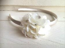 Ivory Satin Alice Hairband Headband Ivory Diamanté Flower Bridesmaid Flower Girl