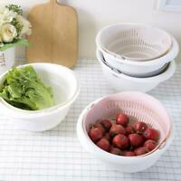 Double Drain Storage Baskets Bowl Home Kitchen Washing Vegetables Fruit Strainer