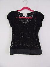 Moulinette Soeurs Anthropologie Black Blouse Lace Top Size 2