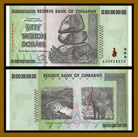 50 TRILLION DOLLARS ZIMBABWE 2008 BANKNOTE, AA P-90 GEM UNC 100 TRILLION SERIES