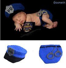 Neugeborene Baby Knit Strick Fotoshooting Polizei Kostüm Mütze Höschen