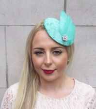Green Silver Statement Feather Fascinator Pillbox Hat Hair Clip Races Vtg 4021