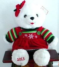 "2013 WalMART CHRISTMAS Snowflake TEDDY BEAR White a Girl 20"" Red/Green Dress.NWT"