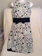 Gorgeous Lela Rose Black & Ivory Cotton Silk Cocktail Dress Size Small