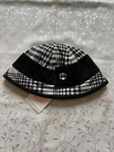 NWT Janie And Jack Girls Black/White Plaid Wool Hat 2T-3T