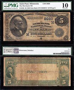 *SCARCE* 2nd Charter 1882 $5 ST. PAUL, MN Dateback National Note! PMG 10! 363016